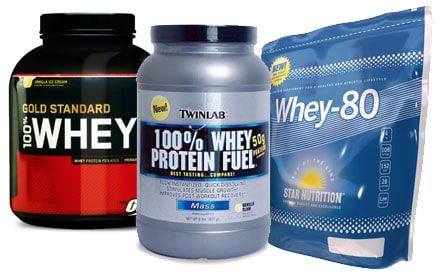 Några vanliga proteinpulver av typen vassle