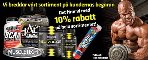 10% rabatt på MuscleTech-produkter hos Gymgrossisten