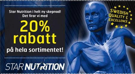 20% på kosttillskott från Star Nutrition hos Gymgrossisten