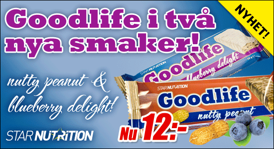 Goodlife Nutty Peanut och Blueberry delight - nya smaker av Star Nutrition:s proteinbar
