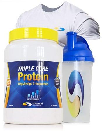 Köp 3 kg Triple core protein hos Svenskt kosttillskott och få en t-shirt och shaker på köpet!