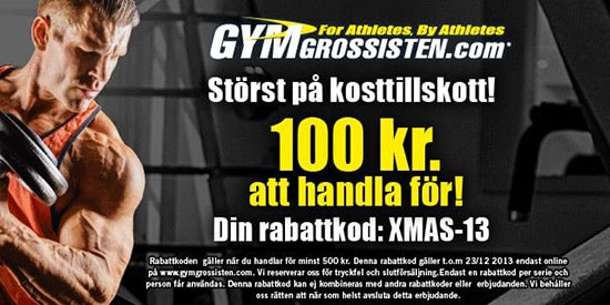 Gymgrossisten rabattkod julen 2013