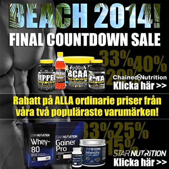 Rabatt på kosttillskott från Chained Nutrition och Star Nutrition hos Gymgrossisten inför Beach 2014