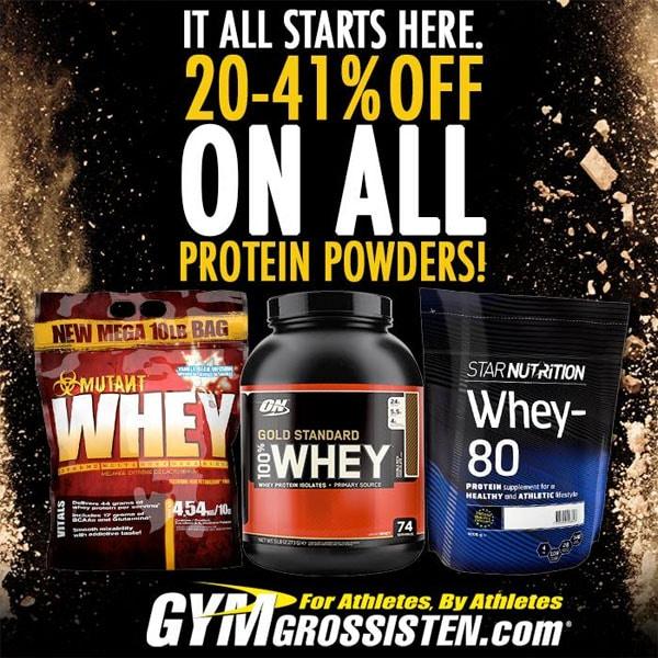 20-41% rabatt på proteinpulver hos Gymgrossisten