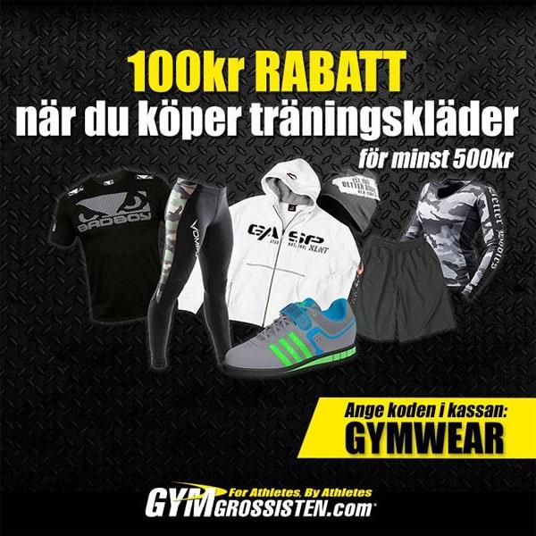 100 kr rabatt på träningskläder med rabattkod hos Gymgrossisten
