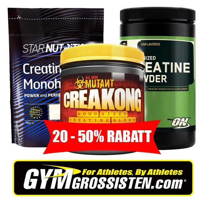 20-50% rabatt på kreatin kosttillskott hos Gymgrossisten