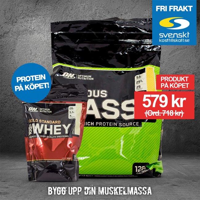 Protein på köpet när du köper Optimum Nutrition Serious Mass hos Svenskt kosttillskott