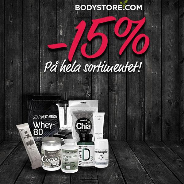 15% rabatt på hela sortimentet hos Bodystore
