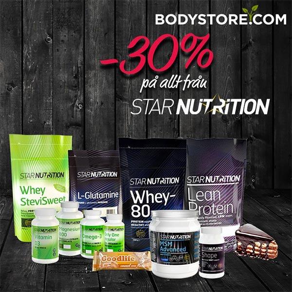 30% rabatt på kosttillskott från Star Nutrition och Star Nutrition Hers hos Bodystore