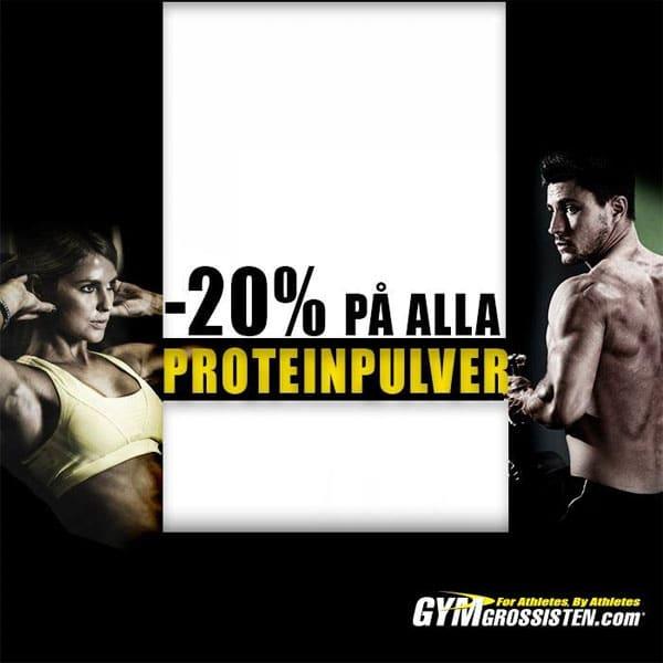 20% rabatt på proteinpulver hos Gymgrossisten i kampanjen Protein week