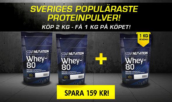 3 för 2 Star Nutrition Whey-80 hos Gymgrossisten