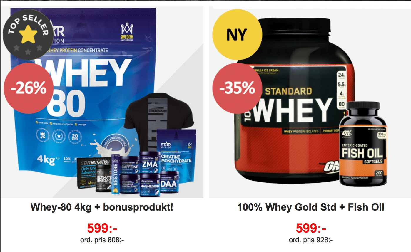 Gymgrossisten Star Nutrition Whey-80 och Optimum Nutrition 100% Whey Gold standard kampanjer
