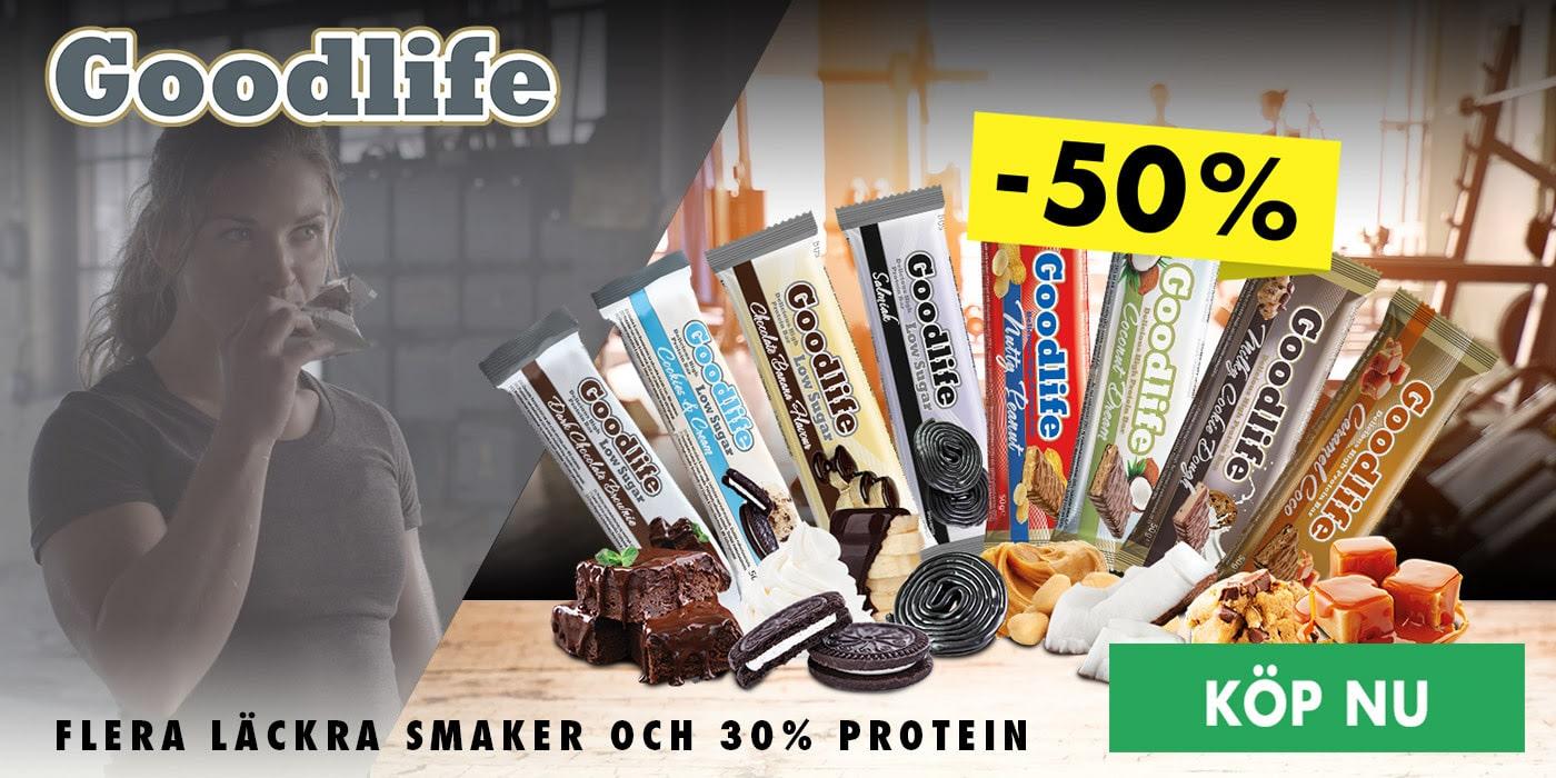 Halva priset på Goodlife proteinbars hos Gymgrossisten