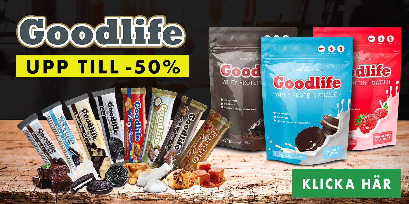 Upp till 50% rabatt på Goodlife kosttillskott hos Gymgrossisten