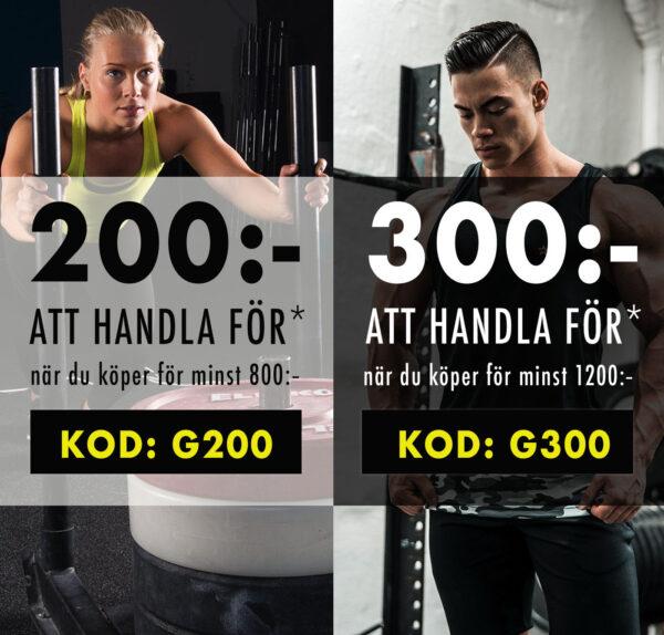 200 eller 300 kr att handla för hos Gymgrossisten med rabattkod