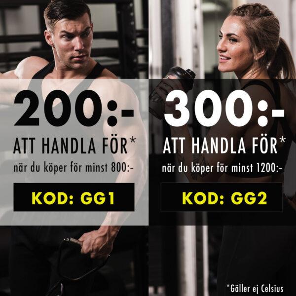 200 eller 300 kr att handla för hos Gymgrossisten med rabattkod mars 2019