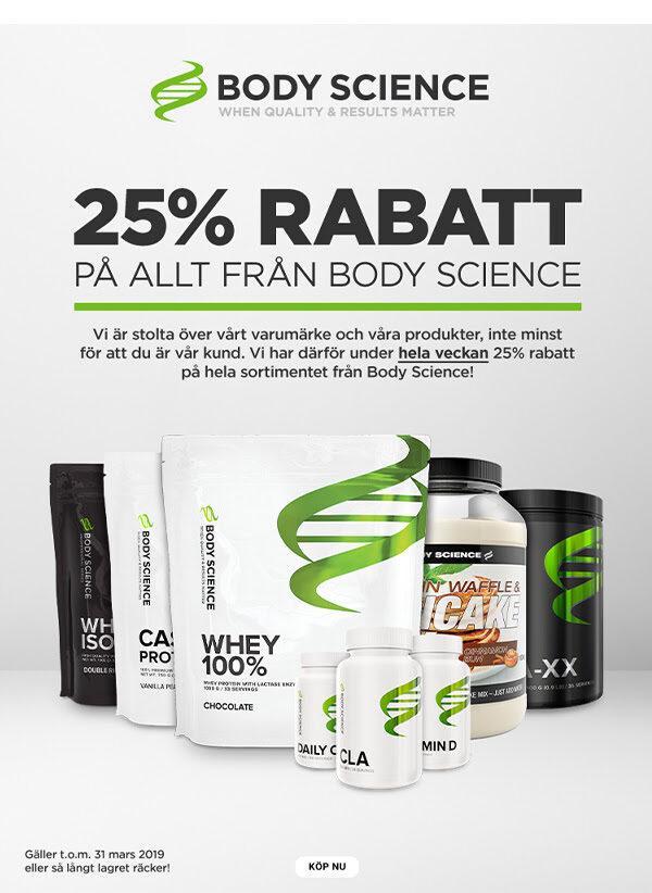 MMSports 25% rabatt på kosttillskott från Body Science